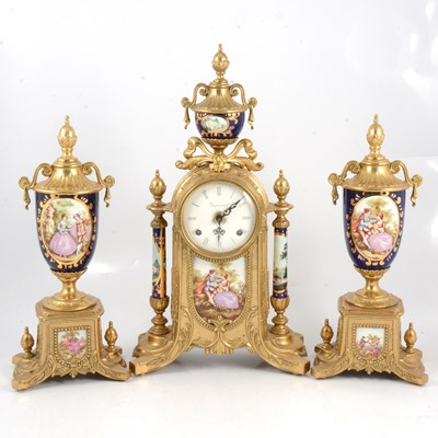 Lot 104 - Reproduction French mantle clock garniture