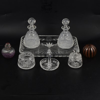 Lot 56 - Glass dressing table set, scent bottle and paperweight.