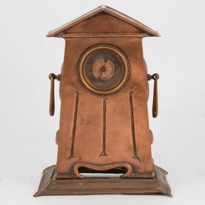 Lot 117 - Arts & Crafts copper mantle clock