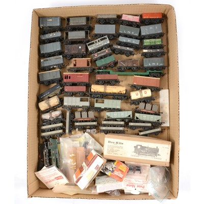 Lot 79 - Tri-ang and kit-built TT gauge model railway rolling-stock, wagons and vans