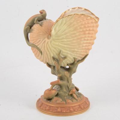 Lot 12 - Royal Worcester Nautilus shell vase