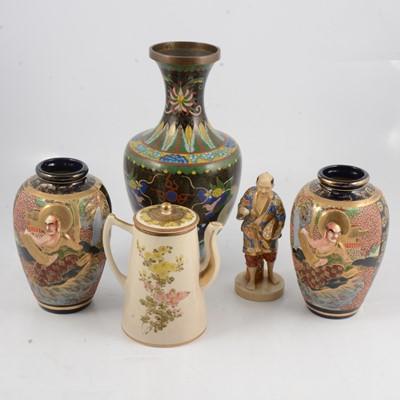 Lot 57 - A Satsuma lidded pot and other oriental wares
