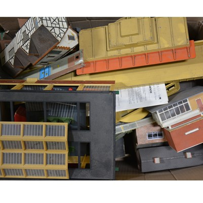 Lot 43 - Four boxes of mostly OO gauge track-side accessories, buildings, scenery and parts.