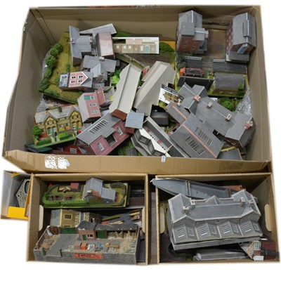 Lot 67 - OO gauge model railway scenery, a large quantity of track-side buildings