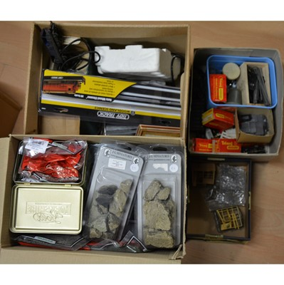 Lot 76 - Three boxes of OO gauge model railway accessories and parts