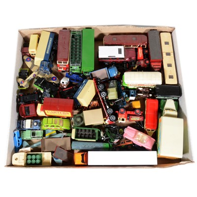 Lot 61 - One tray of loose modern die-cast vehicles and OO gauge track-side cars and trucks
