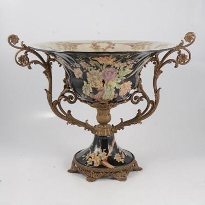 Lot 52 - A pedestal bowl with metal mounts and a Doulton stoneware pedestal base.