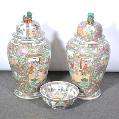 Lot 92 - Pair of large Chinese polychrome temple vases and a similar bowl