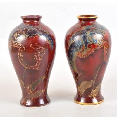 Lot 76 - Pair of Bernard Moore flambe vases, owl and mice design