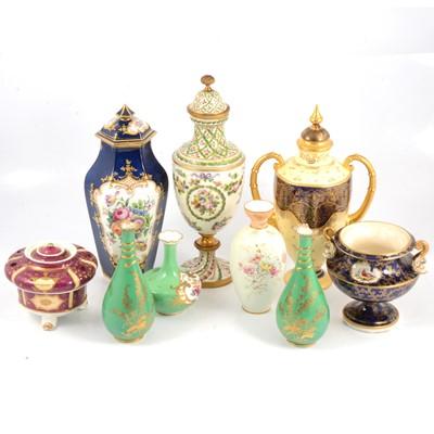 Lot 55 - Quantity of decorative ceramic vases, including Crown Derby and Coalport