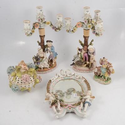 Lot 50 - Pair of Continental porcelain figural candelabra, porcelain framed mirror, etc