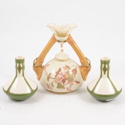 Lot 42 - Royal Worcester twin-handled vase, and a pair of Villeroy & Boch vases