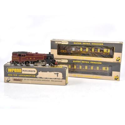 Lot 94 - Wrenn OO gauge model railway locomotive and passenger coaches.